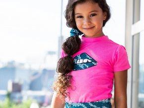 Dívčí tričko svítivě růžové krátký rukáv balónkový KISS Holand BNOSY holka Y102 5414 270 2