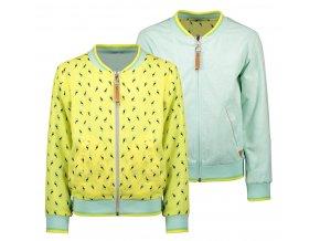 Dívčí bunda jaro léto oboustranná zelený žlutý bomber na zip NONO holka N103 5303 502