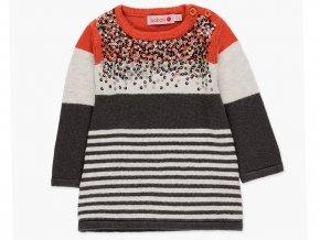 Dívčí pletený svetr pletené šaty šedé oranžové barevné Boboli a