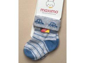 Dětské ponožky mimi světlé šedé modré s autíčkem 052363276 82
