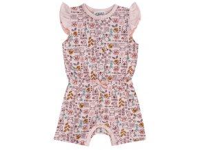 Kojenecký overal letní krátký holčička zvířátka růžový overalek na léto Jacky 4111070 0 2178