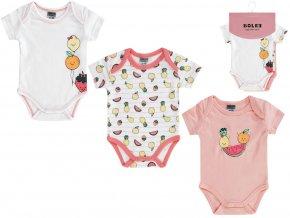 Kojenecké body krátké léto bílé růžové barevné s veselým ovocem 3v1 Boley holčička 6151106 0 9940