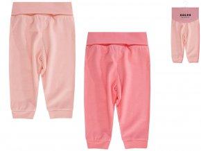 Kojenecké tepláčky pro holčičku růžové bavlna široký pas lososové Boley 2v1 6371106 0 9940