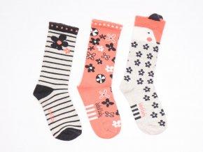 Dívčí ponožky 3 páry Květy Clay světlé holčička přírodní šedé lososové (Velikost EU 22-24)