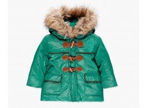 <p>Chlapecká zimní bunda typu parka s kapucí lemovanou kožíškem v moderní olivově zelené barvě s reflexním nádechem. </p>