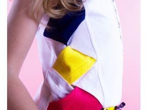 Dívčí triko tílko bíle s barevnými boky  geometrie Holandsko trendy BNOSY Y103 5473 006 2