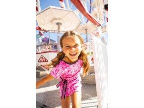 Dívčí strečové šaty růžové batik pohodlné letní šaty pro holky BNOSY Y103 5873 221 4