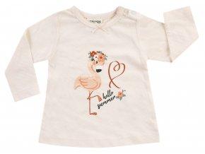 Kojenecké tričko pro holčičku dlouhý rukáv růžové Růženka plameňák Jacky