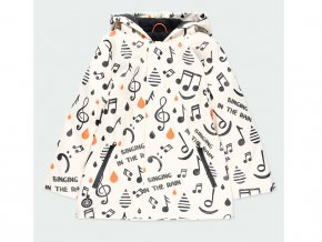 Dětská zateplená p bláštěnka Boboli Nepromokavá bunda bílá noty tancování v dešti a