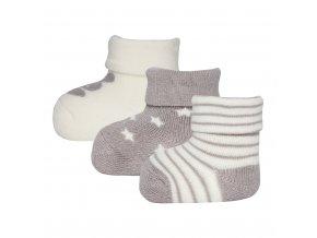 Kojenecké ponožky froté teple šedé pro novorozeně unisex zajíček hvězdičky proužky Ewers 3v1 certif 205000 0003 a