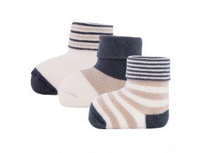 Kojenecké termo ponožky froté pro novorozence béžové pruhované krémově bílé méďa 3v1 certif Ewers 24276 9039 a
