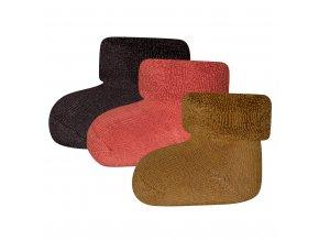 Kojenecké termo ponožky froté přírodní barvy tmavé hnědé okr cihla pro novorozence 3v1 certif Ewers 24276 9042 a