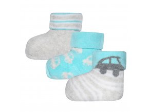 Teplé ponožky pro miminko autíčko froté termo šedé tyrkys modré Ewers 3v1 205147 0002