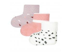 Teplé froté ponožky růžové lila bílé pro holčičku novorozence mimi 3v1 Ewers 205211 0001