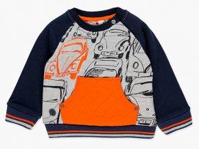 mikina kluk auta svítivě oranžová tmavě modrá Boboli klokan 3380378034 a