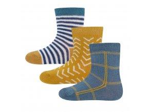 Chlapecké ponožky modré a okrové hořčičně žluté pruhované kostkované 3v1 vysoký podíl bavlny certifik Ewers 205245 0002