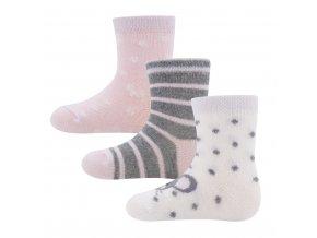Dívčí ponožky růžové bílé šedé pruhované puntíkaté se srdíčky dalmatin 3v1 vysoký podíl bavlny certifik Ewers 205245 0002 205248 0003 a