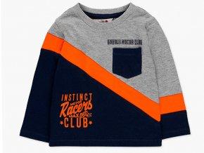 Chlapecké tričko z jemné bavlny s dlouhým rukávem, asymetrickými pruhy a kontrastními barvami a nápisem Instinct Motor Racers Club