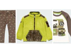 Zelený khaki komplet pro kluka fleecová bunda kalhoty tričko maskot superhrdinové Boboli kluk 3301LB