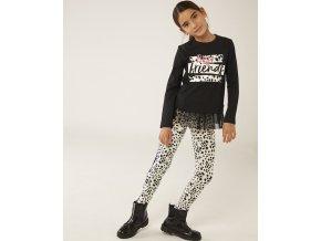 Elegantní dívčí legíny černobílé Dalmatin milovnice pejsků s pruhy Boboli model