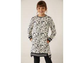 Dívčí mikinové šaty černobílé Dalmatin dlouhá mikina pro holku Boboli model