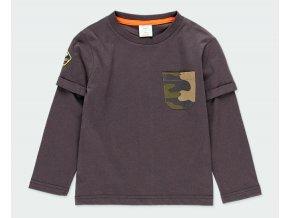 Tmavé chlapecké tričko s dlouhý rukávem maskáč zdvojený rukáv krátký přes dlouhý Boboli kluk 5231908116 a