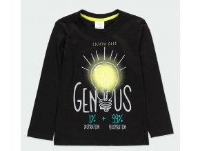 Chlapecké tričko černé s dlouhým rukávem vtipné Génius tmavé tričko pro kluka do školy Boboli 593029890 a