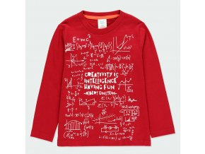 Chlapecké tričko Einstein vtipné tričko pro kluka do školy červené s dlouhým rukávem Boboli kluk 5930293727 a