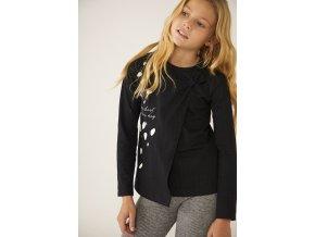 Černé dívčí tričko třpytky elegantní s mašlí dalmatin Boboli holka 443102890 model