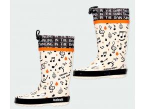 Dětské holinky lehké Boboli design bílé černé oranž gumové boty se stahováním 3900809650 a