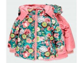 Oboustranná dívčí bunda zimní růžová květy zelená lehká teplá bunda pro holčičku Boboli holka 2331549671 a
