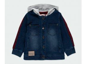 Chlapecká džínová bunda s kapucí měkká tmavě modrá s mikinou Boboli kluk 301093BLUE a