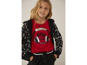 Černá dívčí mikina na zip s kapucí rebel rock Boboli print bavlna 4332689638 model