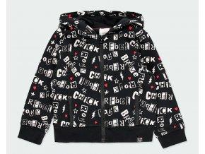 Černá dívčí mikina na zip s kapucí rebel rock Boboli print bavlna 4332689638 a