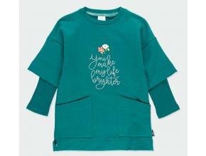 Dívčí mikinové šaty zelené zelená mikina tričko s dlouhým rukávem Boboli 4530244552 a