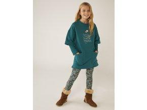 Dívčí legíny zelené s barevným potiskem tmavé legíny zelené Boboli Holka 4530359676 model