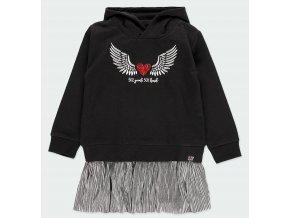 Dívčí mikina s kapucí a sukní Rock černá mikina a kovová sukně Boboli holka rock křídla 433167890 a