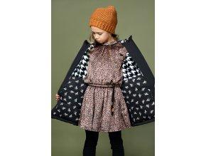 Dívčí černá zimní bunda s páskem Zebra černá parka s kožíškem holka NONO N107 5206 014 4