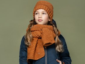 Dívčí pletená šála a čepice KaštanováN107 5900 420 1