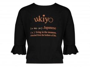 Dívčí tričko černé tříčtvrteční rukáv Ukiyo 3/4 rukáv s volánky Japan NONO N108 5408 014
