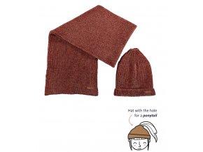 Dívčí pletená šála a čepice s otvorem na culík medová čepice pletená zimní holka skořice NONO