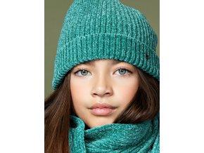 Dívčí pletená šála a čepice s otvorem na vlasy zelená žinilka mramorová NONO holka N107 5902 320 2