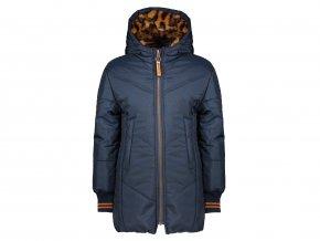 Dívčí zimní bunda dlouhá parka tmavomodrá s kožíškem oranž NONO holka a