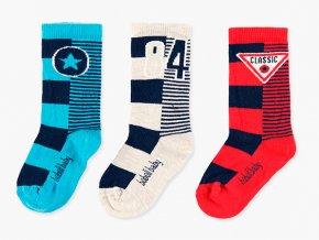 Dětské ponožky pro kluky Airforce trikolóra modré bílé červené hvězda pruhované Boboli bavlna 3v1