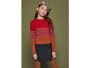 Dívčí svetr tříbarevný pruhovaný okr růžový magenta Malina bavlna NoNo holka N108 5606 N108-5311