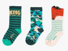 dětské ponožky kluk 3v1 zelené maskáče liška zelené maskáče Boboli příroda3980554489 a