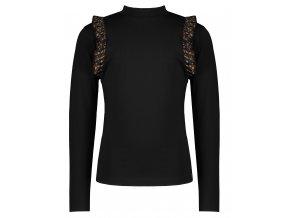 Dívčí rolák s gepardími volánky černý NoNo holka top černý tričko N108 5405 014