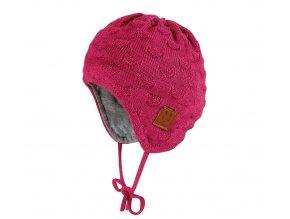 Kojenecká pletená čepička se srdíčky červená magenta růžová čepice pro holčičku mimi Maximo 05571-372400_32