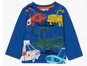 Chlapecké bavlněné tričko s dlouhým rukávem s barevným potiskem retro aut se semišovým 3D potiskem tričko auta pro kluka dlouhý rukáv modré tmavé Boboli