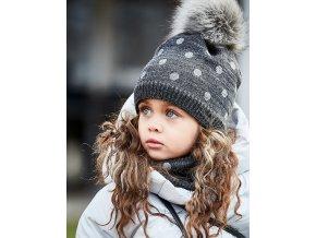 Dívčí čepice s bambulí tmavě šedá + nákrčník puntík Maximo holka13589 657576 18 model